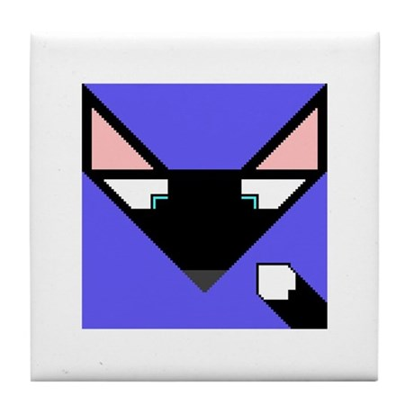 Cubist Black Fox Head and Tail Tile Coaster