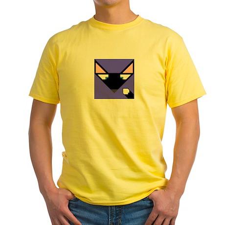Cubist Black Fox Head and Tail Yellow T-Shirt