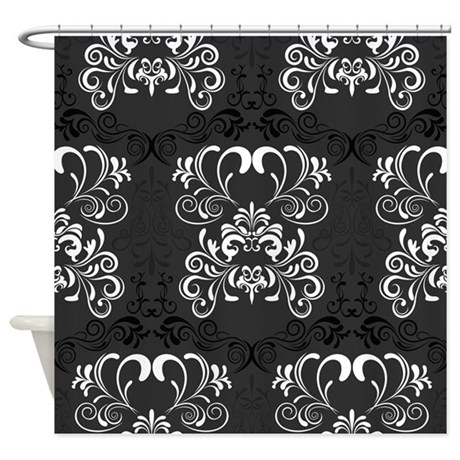 Black Floral Shower Curtain By Creativeconceptz