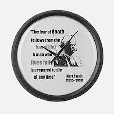 Mark Twain Fear of Death Large Wall Clock