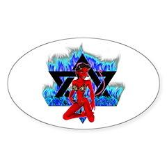 The Girl She Devil Pentagram Oval Decal
