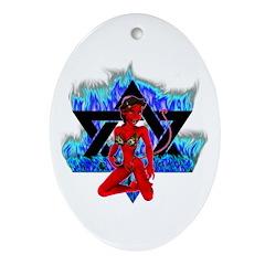 The Girl She Devil Pentagram Oval Ornament