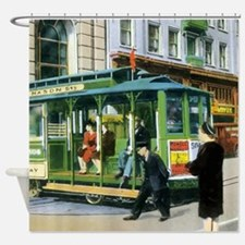 Vintage San Francisco Cable Car Shower Curtain
