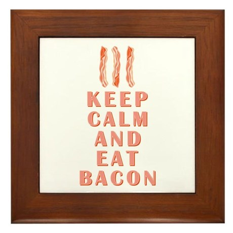 KEEP CALM & EAT BACON Framed Tile