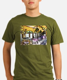Cafe in Railroad Car Organic Men's T-Shirt (dark)