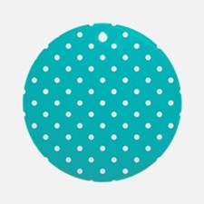 Teal dot pattern. Ornament (Round)