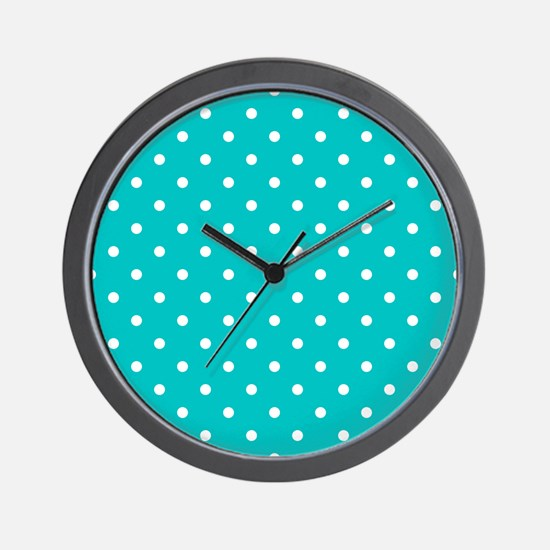 Teal dot pattern. Wall Clock