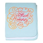 Cursive Fuck Romney baby blanket