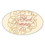 Cursive Fuck Romney Sticker (Oval 10 pk)