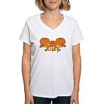 Halloween Pumpkin Riley Women's V-Neck T-Shirt