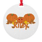 Halloween Pumpkin Riley Round Ornament