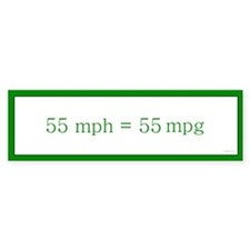 55 mph = 55 mpg Bumper Car Sticker