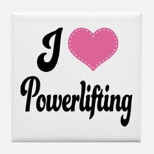 I Love Powerlifting Tile Coaster