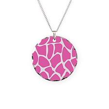 Pink Giraffe Print Pattern. Necklace