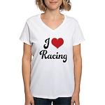I Love Racing Women's V-Neck T-Shirt