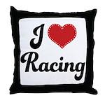 I Love Racing Throw Pillow