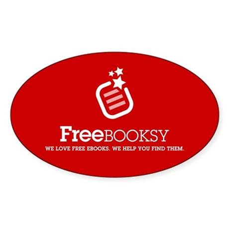 Large Red Freebooksy Rectangle Sticker (Oval)