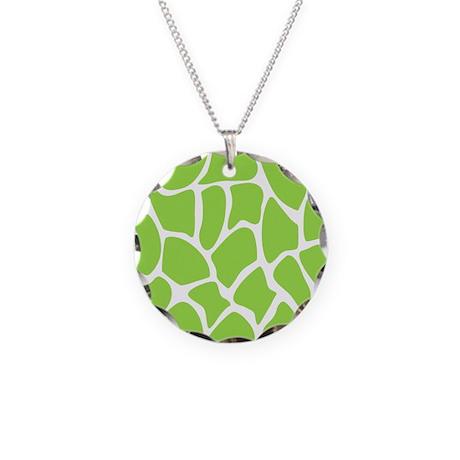 Green Giraffe Print Pattern. Necklace Circle Charm