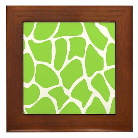 Green Giraffe Print Pattern. Framed Tile
