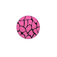 Giraffe Print in Pink and Black. Mini Button