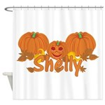 Halloween Pumpkin Shelly Shower Curtain
