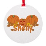 Halloween Pumpkin Shelly Round Ornament