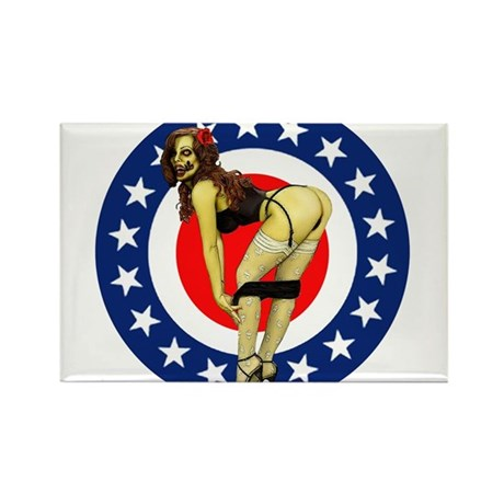 All American Pin up Zombie Rectangle Magnet