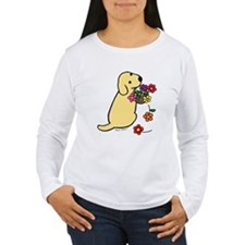Yellow Lab Puppy Flower Basket T-Shirt
