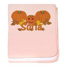 Halloween Pumpkin Sofia baby blanket