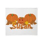 Halloween Pumpkin Susan Throw Blanket