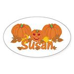Halloween Pumpkin Susan Sticker (Oval)
