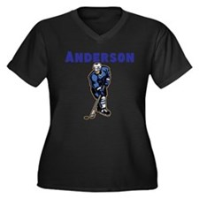 Personalized Hockey Women's Plus Size V-Neck Dark