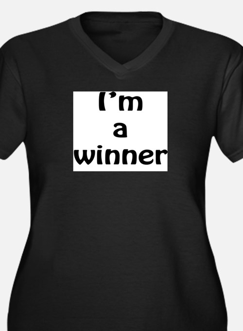 I'm a winner Women's Plus Size V-Neck Dark T-Shirt