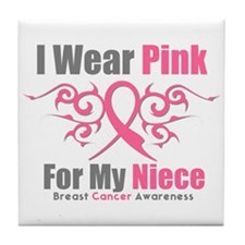 Pink Ribbon Tribal - Niece Tile Coaster
