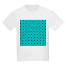 Teal and Black Polka Dot. T-Shirt