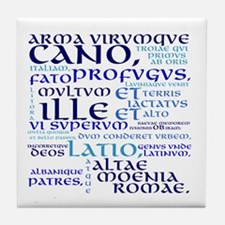 Arma Virumque Cano Blue Tile Coaster