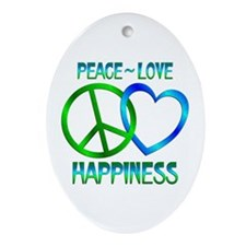 Peace Love Happiness Ornament (Oval)