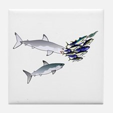 Two White Sharks ambush Tuna Tile Coaster