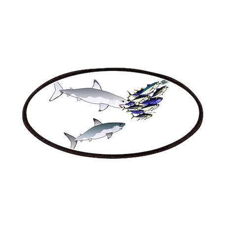 Two White Sharks ambush Tuna Patches