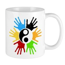 Hand Prints Ying Yang Colorful Mug