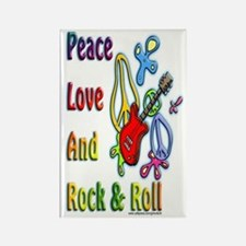 Peace Love & Rock n Roll Rectangle Magnet