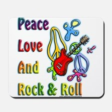 Peace Love & Rock n Roll Mousepad