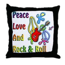 Peace Love & Rock n Roll Throw Pillow