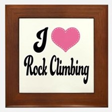I Love Rock Climbing Framed Tile