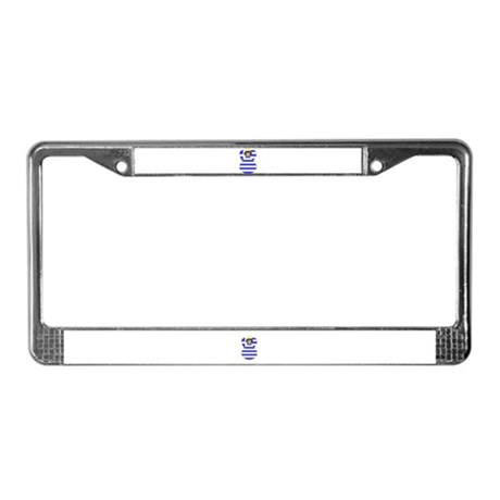 Greek Flag Angel Black Hair License Plate Frame