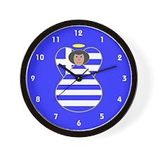 Greek Flag Angel Black Hair Wall Clock