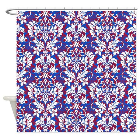 Blue And Red Floral Shower Curtain By GlamourGirls2