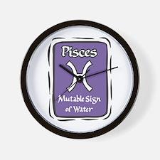 Pisces Plaque Wall Clock