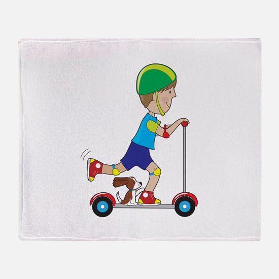 Scooter Boy Throw Blanket