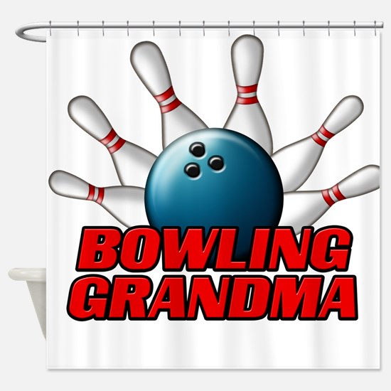 Bowling Grandma (pins).png Shower Curtain
